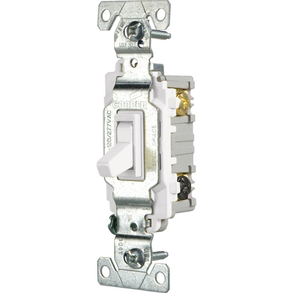 Eaton 15 Amp 3-Way Light Switch, White on