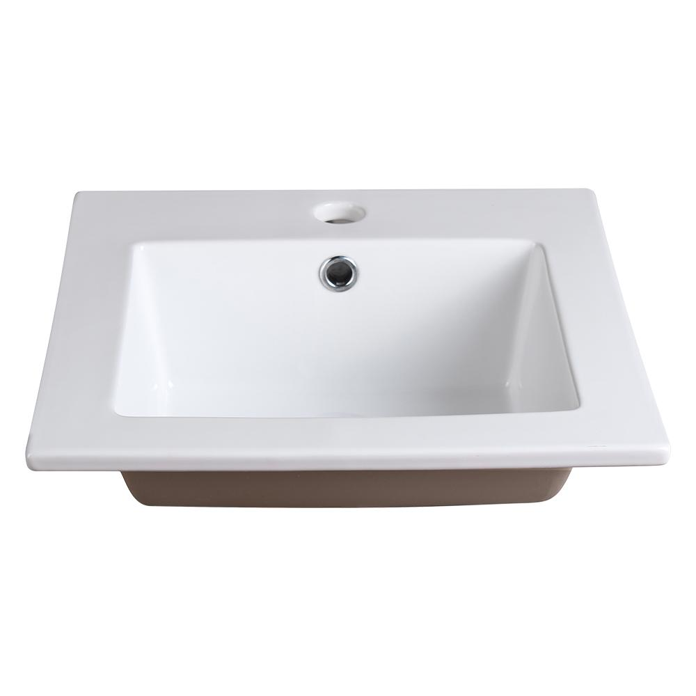 Fresca Allier 16 In Drop In Ceramic Bathroom Sink In White With