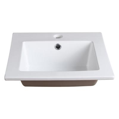 Allier 16 in. Drop-In Ceramic Bathroom Sink in White with Integrated Bowl