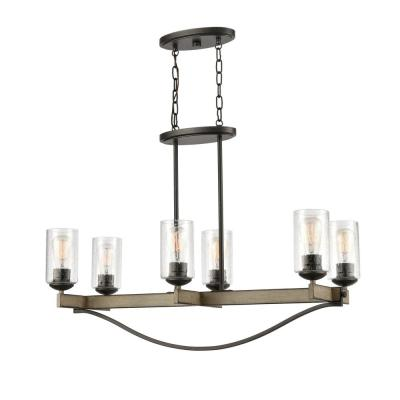 Prescott 6-Light Anvil Iron 2 Row Linear Chandelier with Clear Seeded Glass Shades