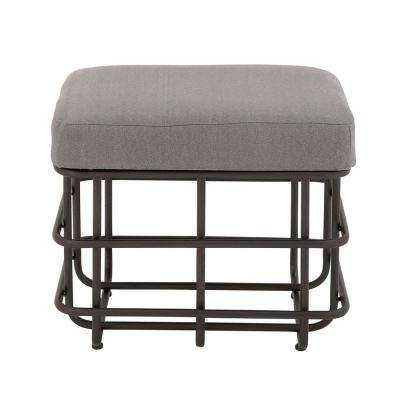 19 in. H x 22 in. W Polished Black and Gray Basket-Style Cushioned Stool