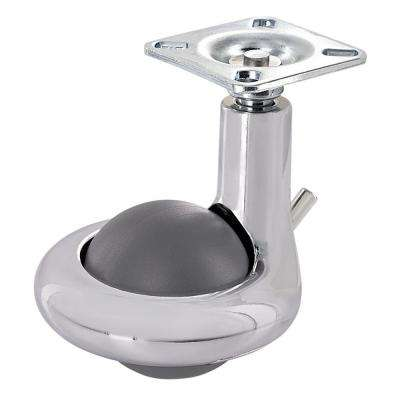 1-31/32 in. Grey/chrome Swivel with Brake Plate Caster, 176 lb. Load Rating