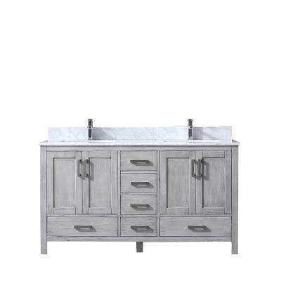 Jacques 60 in. Double Vanity Distressed Grey, White Carrera Marble Top, White Square Sinks and no Mirror
