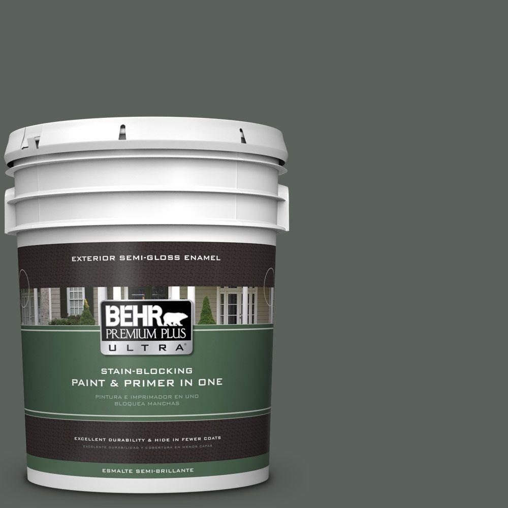 BEHR Premium Plus Ultra 5-gal. #PPF-45 Woodland Moss Semi-Gloss Enamel Exterior Paint