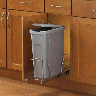 17 in. H x 8 in. W x 20 in D Steel In-Cabinet 20 Qt. Single Pull-Out Trash Can in Platinum