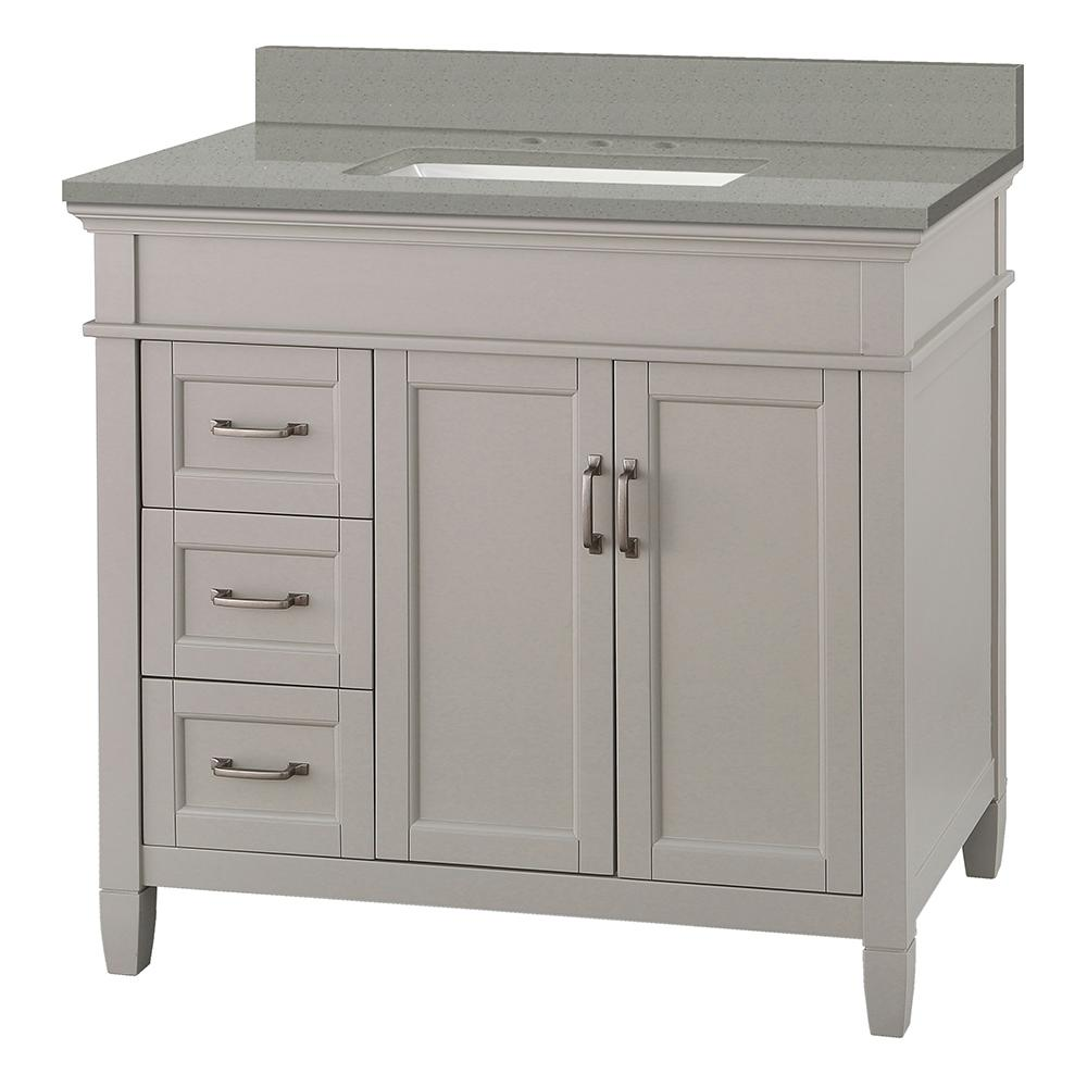 Foremost Ashburn 37 in. W x 22 in. D Vanity Cabinet in Grey with Engineered Quartz Vanity Top in Sterling Grey with White Basin
