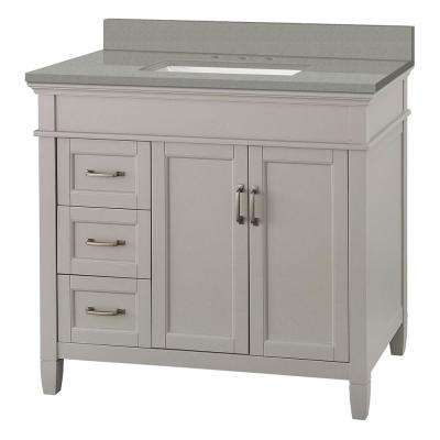 Ashburn 37 in. W x 22 in. D Vanity Cabinet in Grey with Engineered Quartz Vanity Top in Sterling Grey with White Basin