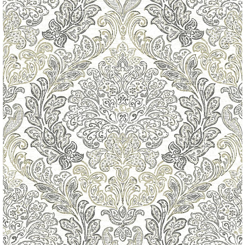 Fontaine Grey Damask Wallpaper Sample
