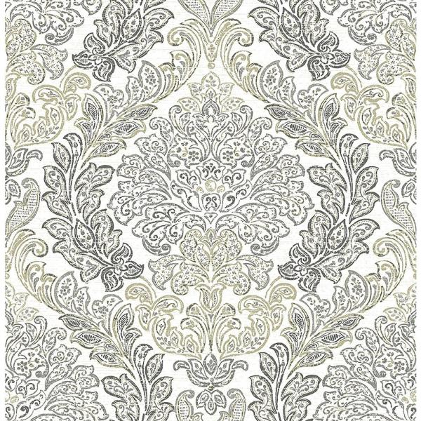 A-Street Fontaine Grey Damask Wallpaper Sample 2702-22744SAM