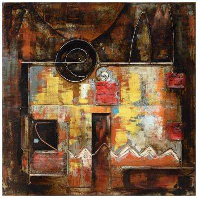 "48 in. x 48 in. ""Abstraction 1"" Mixed Media Iron Hand Painted Dimensional Wall Art"