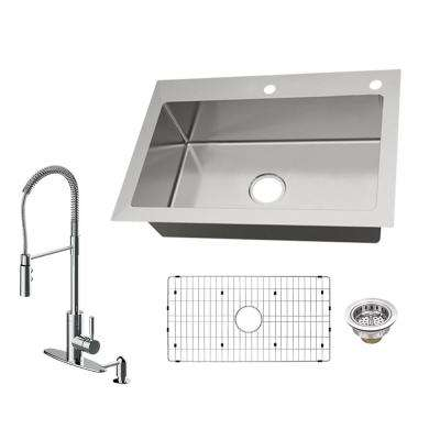 All-in-One Dual Mount 18-Gauge Stainless Steel 33 in. 2-Hole Single Bowl Kitchen Sink with Pull Down Kitchen Faucet