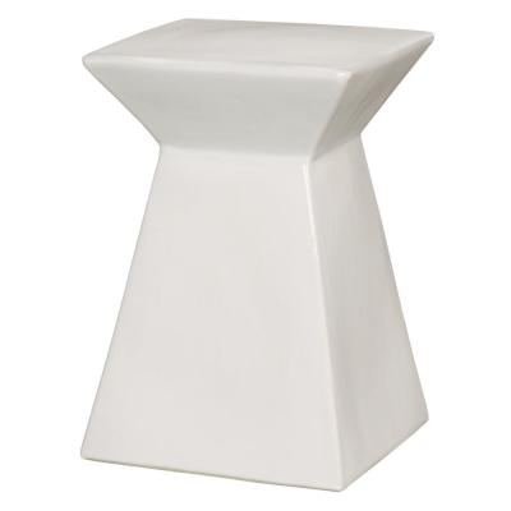 Upright White Ceramic Garden Stool