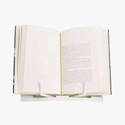 Book Stand with Easel, Portable Bookstand with Adjustable Page Holders, Lightweight Reading Stand, White