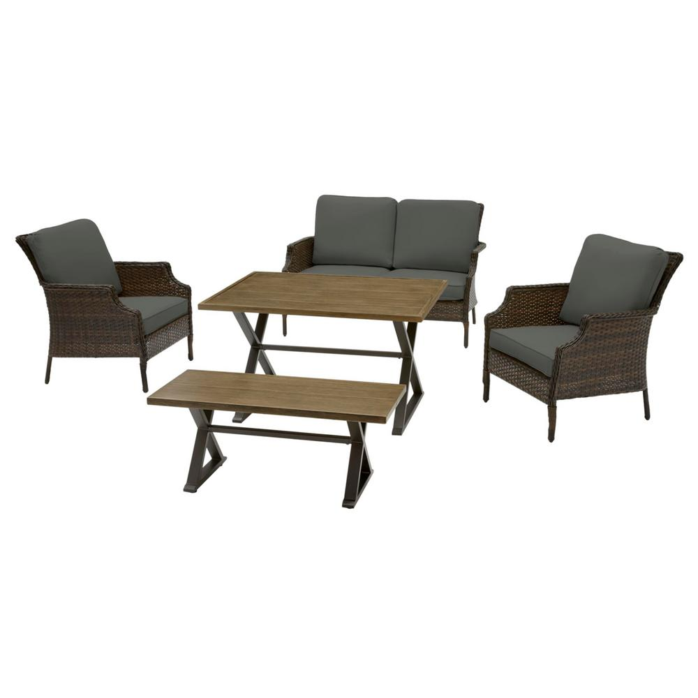 Hampton Bay Grayson 5-Piece Brown Wicker Outdoor Patio Dining Set with CushionGuard Graphite Dark Gray Cushions was $699.0 now $559.2 (20.0% off)