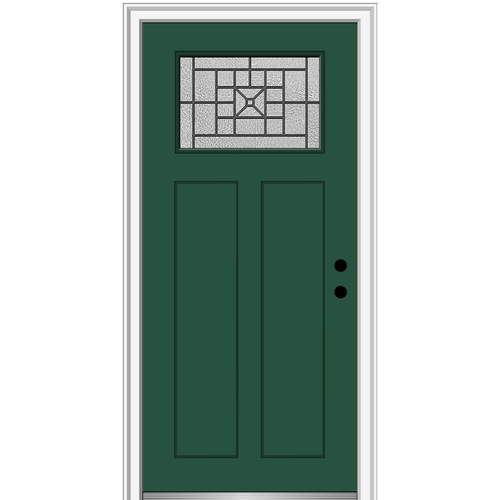MMI Door 36 in. x 80 in. Courtyard Left-Hand 1-Lite Decorative Craftsman Painted Fiberglass Prehung Front Door, 4-9/16 in. Frame, Hunter Green/ was $1444.56 now $939.0 (35.0% off)