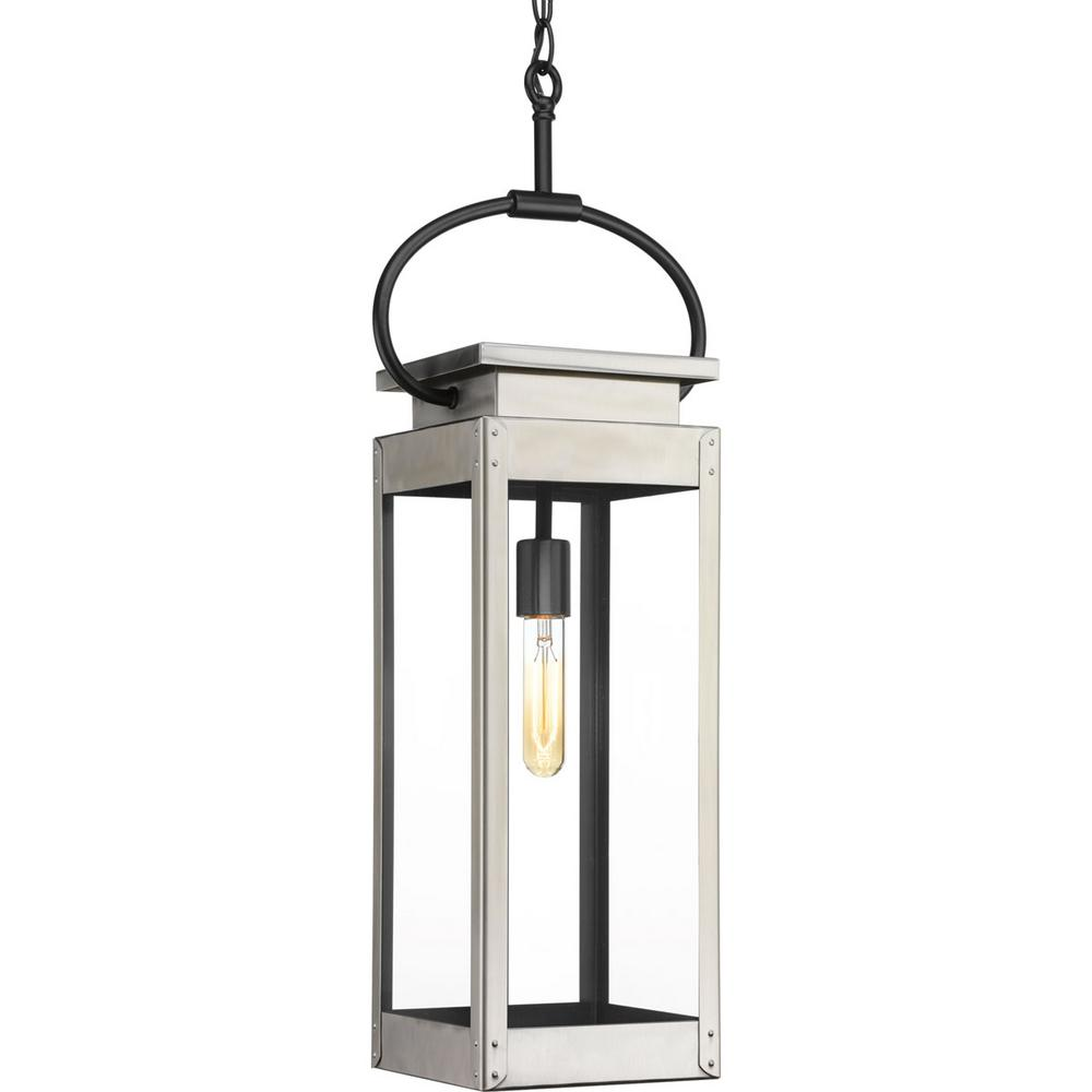 Progress Lighting Union Square Collection 1-Light Outdoor Stainless Steel Hanging Lantern