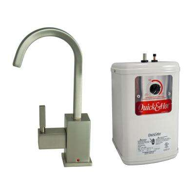 Single-Handle Hot Water Dispenser Faucet with Heating Tank in Brushed Nickel