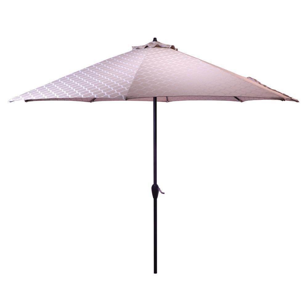 10 ft. Aluminum Patio Umbrella in Toffee Trellis with Auto Tilt