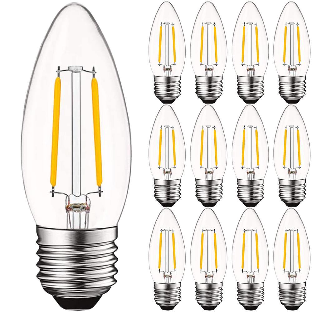 Luxrite 40 Watt Equivalent B10 Dimmable Edison Led Light Bulbs Ul Listed 2700k Warm White 12 Pack Lr21582 12pk The Home Depot