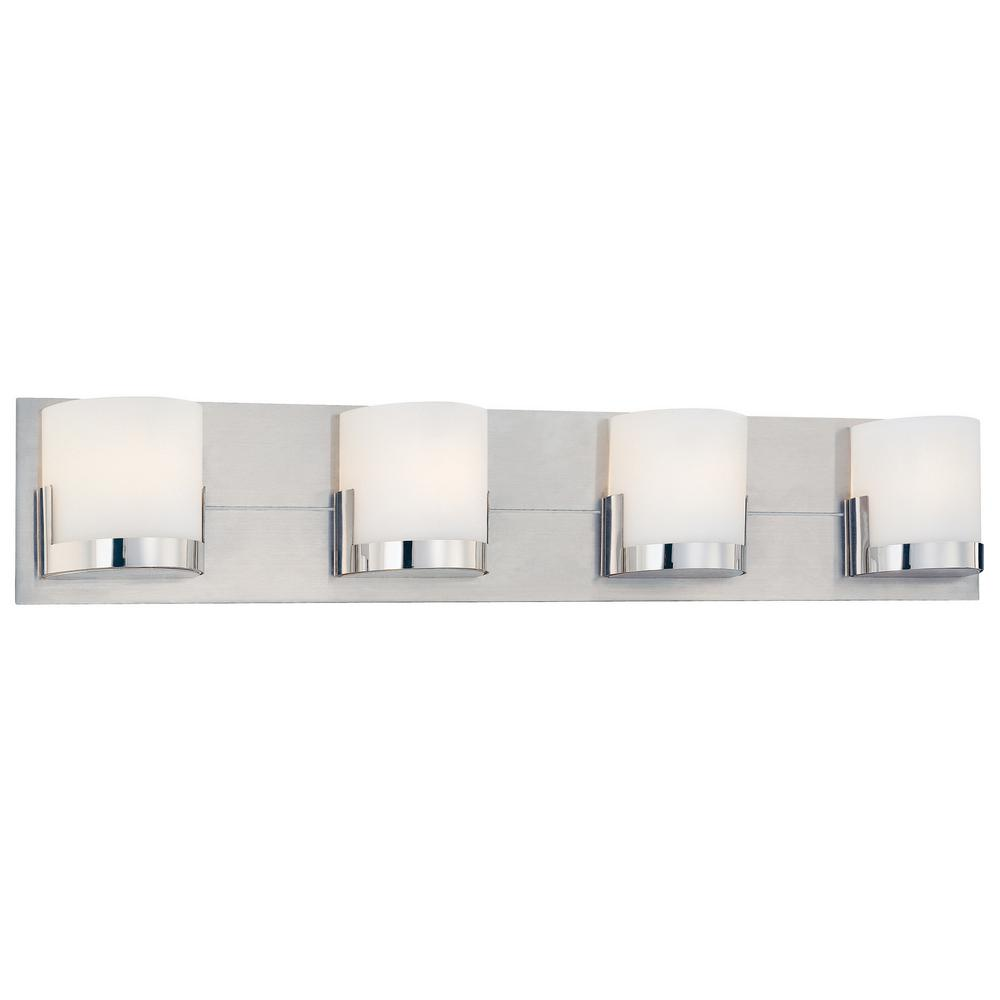 Convex 4-Light Chrome Glass Holders with Brushed Aluminum Backplate Bath Light