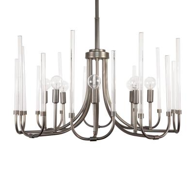 8-Light Satin Copper Bronze Chandelier with Clear Smooth Glass Rods