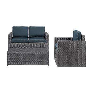 Palm Harbor 3-Piece Wicker Patio Conversation Set with Navy Cushions