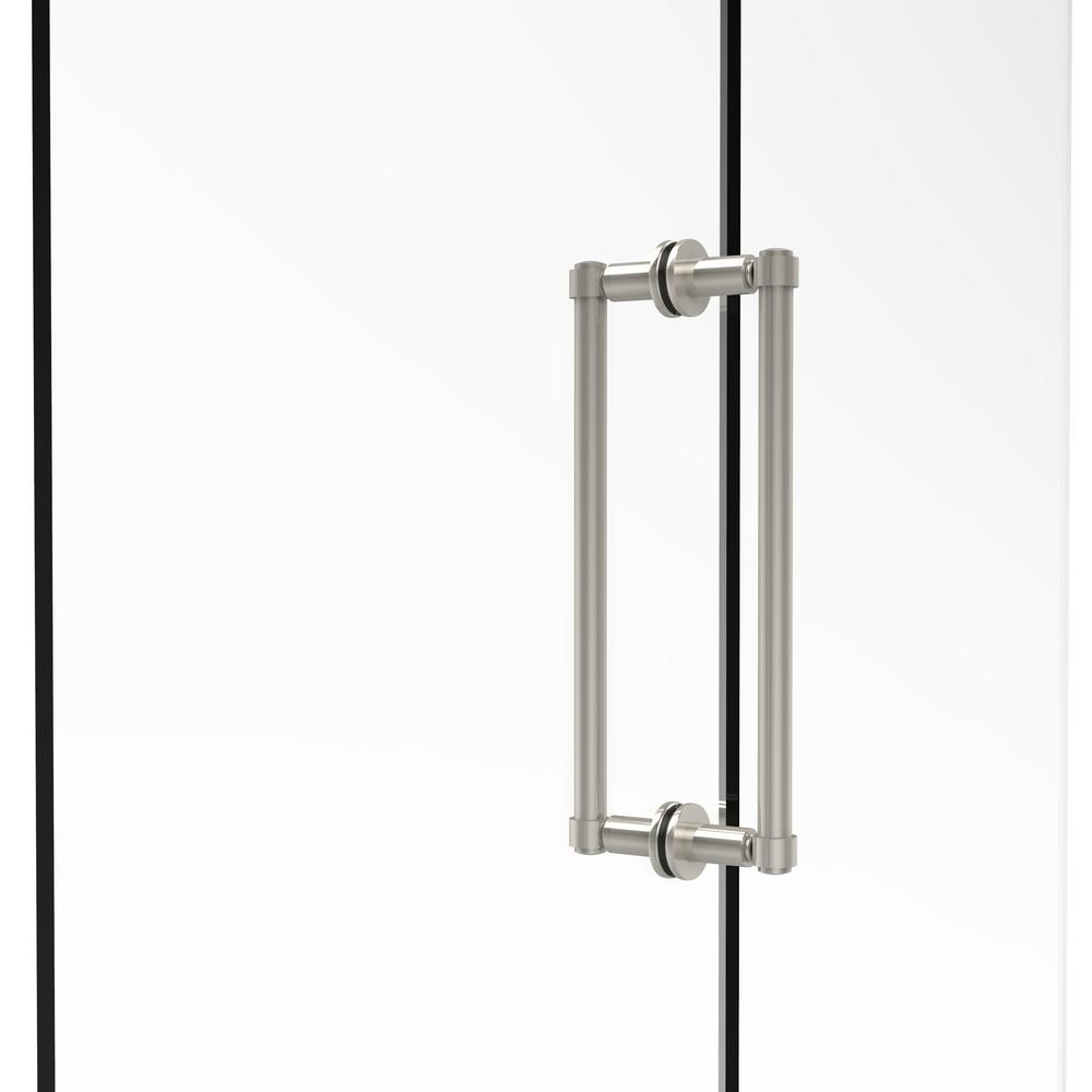 Contemporary 12 in. Back-to-Back Shower Door Pull in Polished Nickel