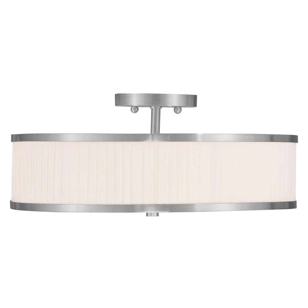 LIVEX 3-Light Brushed Nickel Flush Mount with White Pleat...