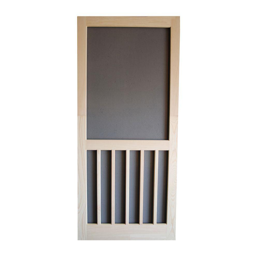 32 in. x 80 in. Wood Unfinished 5-Bar Screen Door