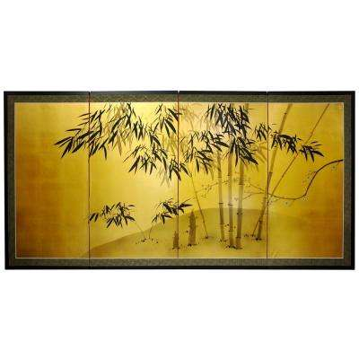 """24 in. x 48 in. """"Gold Leaf Bamboo"""" Wall Art"""