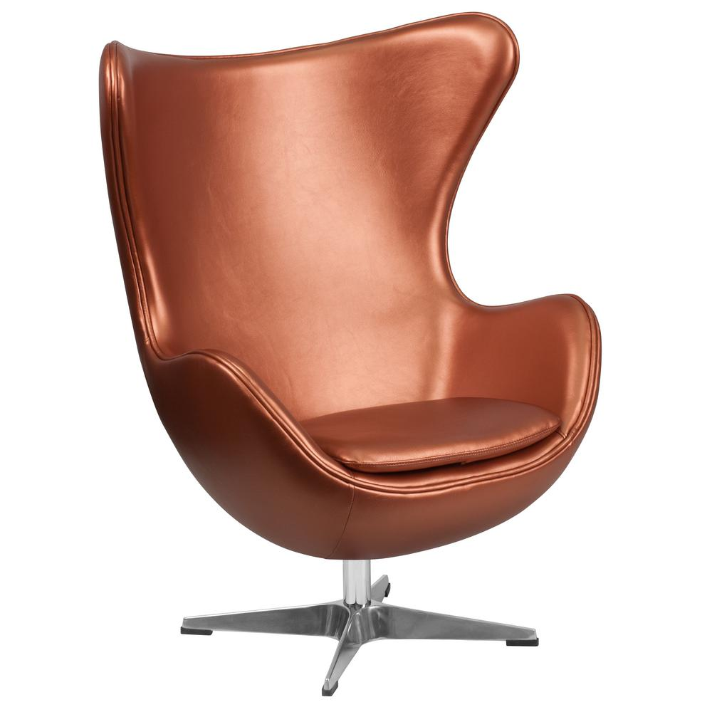 flash furniture copper leather egg chair with tilt lock mechanism zb22 the home depot. Black Bedroom Furniture Sets. Home Design Ideas