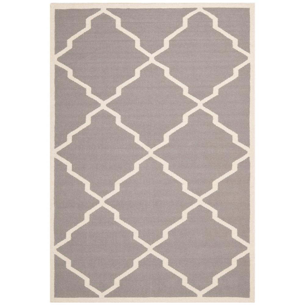 Safavieh Dhurries Grey/Ivory 5 ft. x 8 ft. Area Rug