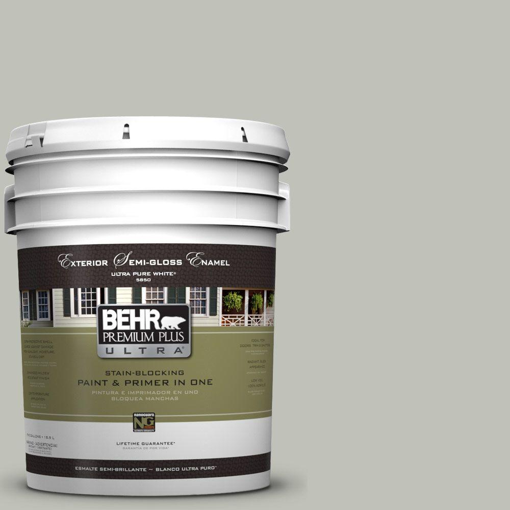 BEHR Premium Plus Ultra 5-gal. #UL210-8 Silver Sage Semi-Gloss Enamel Exterior Paint