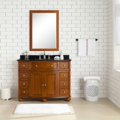 Hampton Harbor 45 in. W x 22 in. D Vanity in Sequoia with Granite Vanity Top in Black with White Sink