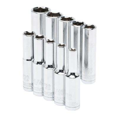 1/4 in. Drive Deep SAE Socket Set (10-Piece)