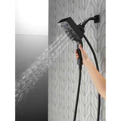 In2ition Two-in-One 4-Spray 5.9 in. Dual Wall Mount Fixed and Handheld H2Okinetic Shower Head in Matte Black