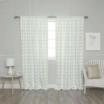 Green 96 in. L Nordic Watercolor Check Curtain (2-Pack)
