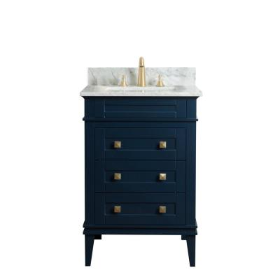 24 in. W x 22 in. D Vanity in Blue with Cararra Marble Vanity Top in White and with White Basin