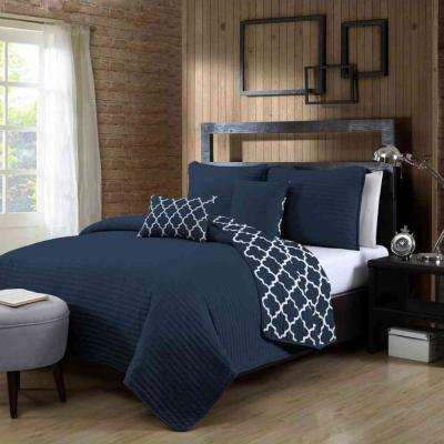 Griffin 5-Piece Navy Queen Quilt Set