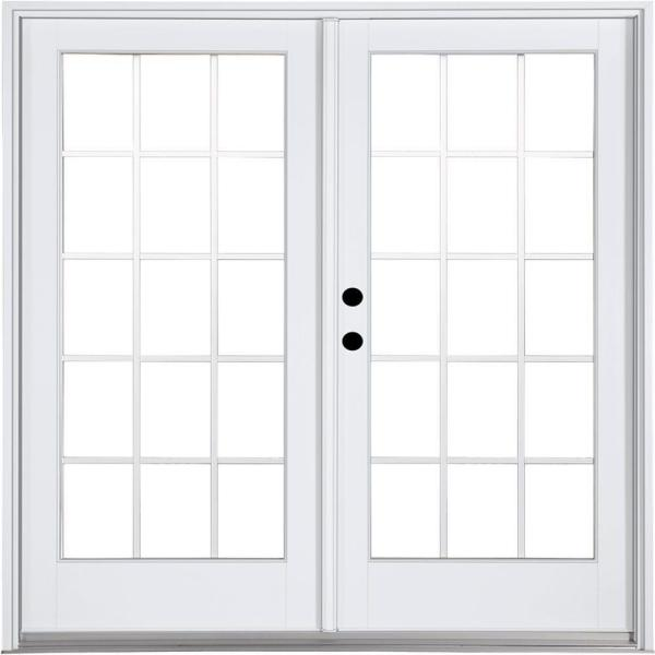 72 in. x 80 in. Fiberglass Smooth White Right-Hand Inswing Hinged Patio Door with 15-Lite GBG