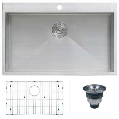 Drop-in Top Mount Stainless Steel 33 in. 16-Gauge Single Bowl Kitchen Sink
