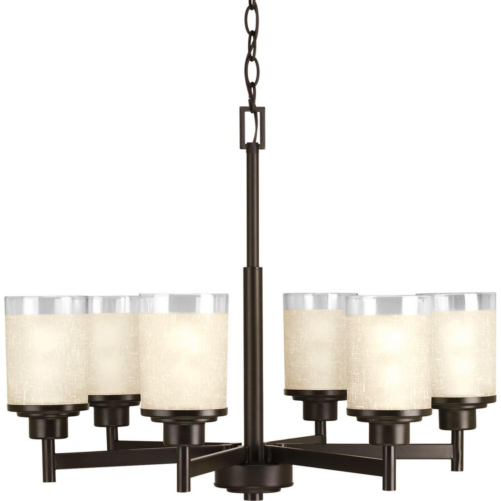 progress lighting alexa collection6 light antique bronze chandelier