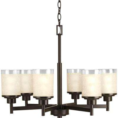 Alexa Collection6-light  Antique Bronze Chandelier with Etched Umber Linen Glass Shade
