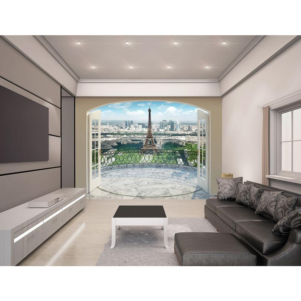 Walltastic 120 in h x 96 in w eiffel tower in paris wall for Wallpaper murals home depot