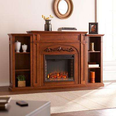 Binghamton 72.5 in. W Bookcase Electric Fireplace in Autumn Oak