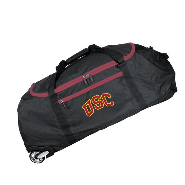 Denco NCAA Southern California 36 in. Checked-In Rolling Duffel in Black