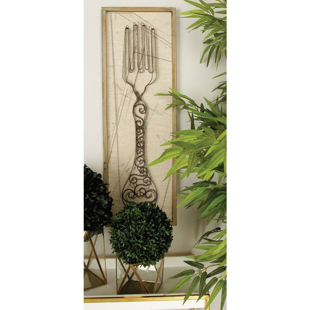 12 in. x 36 in. Kitchen Whimsy Sketched Utensil Wooden Wall
