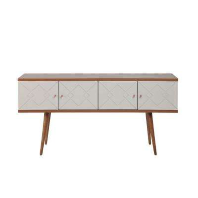 Trinity 59.84 in. Off White and Maple Cream Mid-Century Modern Sideboard