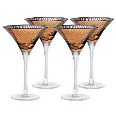8 oz. Zebra Gold Design Martini Glass (Set of 4)