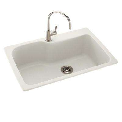 Drop-In/Undermount Solid Surface 33 in. 1-Hole Single Bowl Kitchen Sink in Bisque